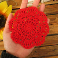 Red Vintage Hand Crochet Cotton Lace Doilies Small Round Coasters Flower 10cm