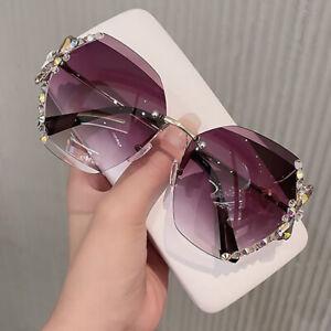 2021 New Luxury Rhinestone Shades For Women Fashion Oversized Rimless Sunglasses