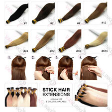 """16-24""""100S Pre Bonded Glue Stick/I Tip Remy Human Hair Extensions Straight 7A"""