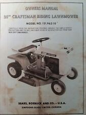 Sears Craftsman 26 Riding Lawn Mower Tractor 6 hp Owner & Parts Manual 131.96310