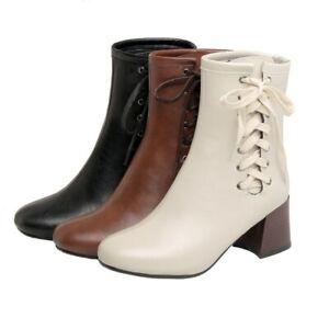 Women Ankle Boots Block Mid Heel Ladies Buckle Office Work Shoes 34-47 48 49 D
