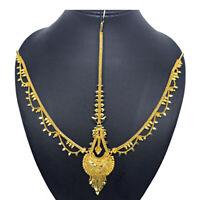 Indian Asian Golden Matha Patti Maang Tikka Head Chain Wedding Hair Jewellery