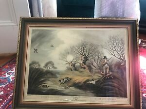 Fantastic franed antique English hunting print. original from 1807.