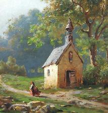 Ernst Renck 1841 Kreuznach - 1912 Offenbach / Main Landschaft mit Kapelle Taunus