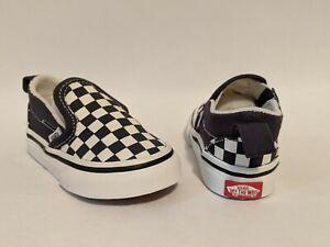 Vans New TD Slip-On V Checkerboard India Ink/True White Vault Toddler Size USA 5