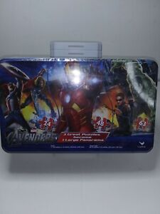 2011 Marvel The Avengers 3 Puzzle Set In Tin 135 Piece Total Makes Panoramic Vie