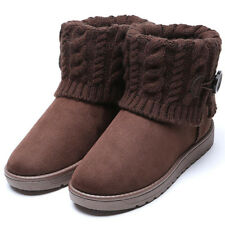 NEW Women Ladies Knitted Lined Winter Snow Ankle Boots Warm Casual Flat Shoes
