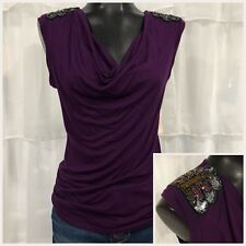 SMALL - NWT DRESS BARN Collection Beaded Shoulders Draped Neck Top