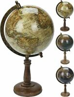 Decorative Rotating World Map Ornamental Globe On Wooden Stand