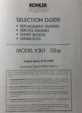 Kohler K301 Engine 12 hp Specifications Manual Lawn Garden Tractor Generator