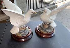 Andrea By Sadek Pair Doves Porcelian Figurines