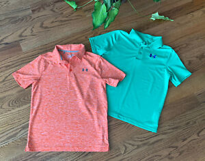 Under Armour Golf Athletic Polo Shirts Boy's Size L (Lot of 2) Green/Orange EUC