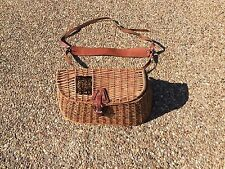 LL BEAN Fly Fishing Creel Woven Wicker Basket with Leather Straps