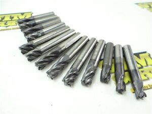 "LOT OF 13 ASSORTED SOLID CARBIDE END MILLS 5/16"" TO 25/64"" DIA FULLERTON"