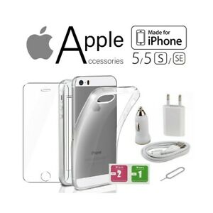 KIT ACCESSORI COVER  PELLICOLA VETRO TEMPERATO + CHARGER + SPILLO IPHONE 5 5S SE