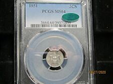 1851 3CS  PCGS & CAC   MS-64    OUTSTANDING EYE APPEAL    FIRST YEAR OF ISSUE