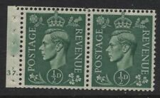 1942 ½d  PALE GREEN LIGHT COLOUR BOOKLET CYLINDER PANE OF 2 U/MINT. SG 485e