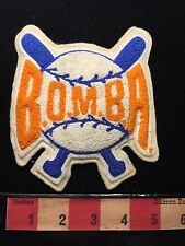 Vtg BOMBA BASEBALL Chenille Letter Jacket Patch B.O.M.B.A. Burlington Canada67WC
