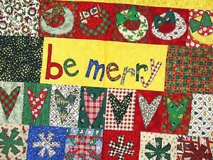 Handmade Christmas Quilt Throw BE MERRY applique candy canes stars hearts 43x52
