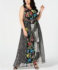 New Calvin Klein Women's Plus Size 0X Black Mixed Print Maxi Dress