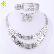 Silver Plated Dubai African Austrian Crystal Necklace Bracelet Earrings Ring Set