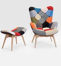 Grant Featherston inpsired Handmade Patchwork Lounge Chair with Ottoman