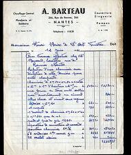 """NANTES (44) CHAUFFAGE COUVERTURE PLOMBERIE ZINGUERIE """"A. BERTEAU"""" en 1952"""