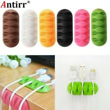 Dekstop Phone Cable Earphone clip Charger Organizer Wire Cord Fixer Silicon Hold
