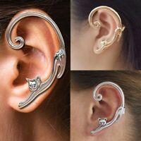 Cool Cat Clip Ear Cuff Stud Women's Punk Wrap Cartilage Earring Jewelry Gift