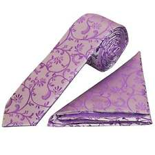 Cadbury Purple Floral Skinny Mens Tie and Handkerchief Set Slim Wedding Tie Thin