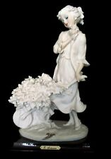 Vtg G Armani Lady W/Flower Cart Rare White Capodimonte Figurine Italy 1988 Mint