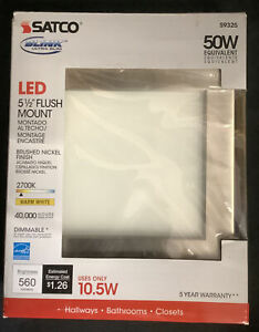 Led Flush Mount Ceiling Light Satco S9325 Contemporary  Brushed Nickel 5.5 New