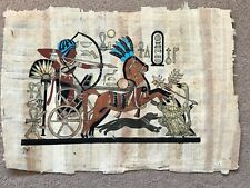 Egyptian Papyrus Genuine Original Signed Hand Painted Hunting Geese 31cm x 22cm