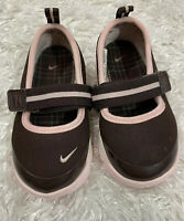 Nike Free Mary Jane Shoes Toddler Baby Size 6C Brown Pink Hook And Loop Strap