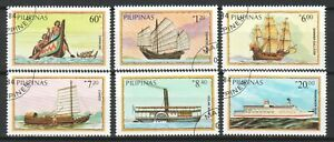 PHILIPPINES 1984 MARITIME SHIP & BOAT COMP. SET OF 6 STAMPS SC#1718-1723 IN USED