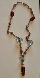 Vintage Pink Wedding Cake Venetian Murano Glass Bead Necklace