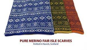 Pure Merino Wool Scarf - Fair Isle Design - Made in Hawick, Scotland