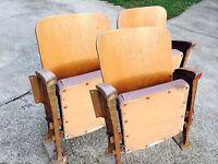 3 Sièges Fauteuil Strapontins Chaise de Cinéma Théâtre banc indus vintage rétro