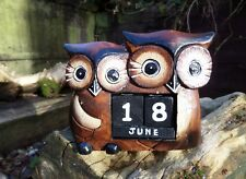 Fair Trade Hand Carved Made Wooden Shabby Owl Perpetual Desk Office Calendar