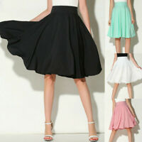 Womens Solid Flared Retro Casual Knee Length Pleated Midi Office Work Skirts US