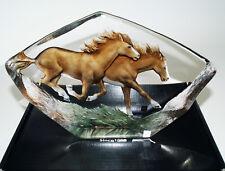 """Mats Jonasson Art Glas Wildlife """"Pferde"""" 160  mm hoch"""