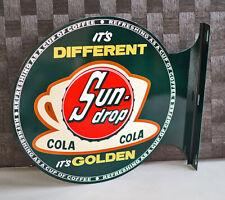 SUNDROP COLA Soda Pop Flange Sign With Coffee Cup sun drop  Modern Retro