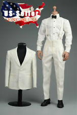 "1/6 Vintage Gentleman Tuxedo Suit WHITE For Brad Pitt 12"" Hot Toys Figure ❶USA❶"