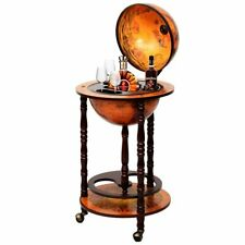 Old World Wooden Globe Rolling Beverage Bar Serving Drink Liquor Cart Wine Rack