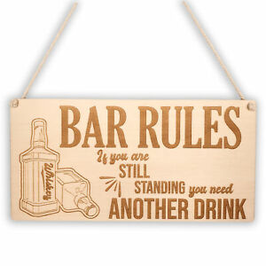 Funny Bar Rules Hanging Wall Plaque Gift Man Cave Sign for Drinkers