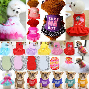 Summer Cute Pet Clothes for Small Dog Cat Princess Dress Printed Chihuahua Skirt