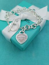 "Genuine Return To Tiffany &Co Silver Heart Tag Toggle Bracelet 7.75"" Retail £430"