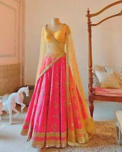 Pink Indian Designer Lehenga Choli Ghagra Lengha Wedding Wear Sequence Saree
