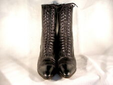 Antique Edwardian Period Black Leather Lace Up Boots Us9