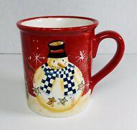 Becca Barton Snowman⛄️ Christmas Tree 🎄Red Mug Cup 16oz Certified International
